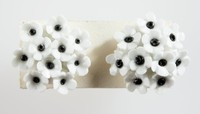 Pair Wedgwood bone china and metal mounted earrings featuring black and white flowers