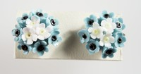 Pair of Wedgwood bone china and metal mounted earrings with blue, black and white flowers