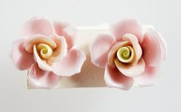 Pair of Wedgwood Bone china floral earrings each with a pink and cream rose on a metal mount