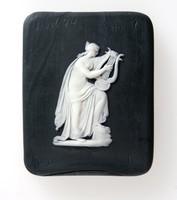 Square black jasper plaque with white relief of Erato with Lyre, lab trial