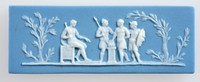 Rectangular blue jasper plaque with white relief Marcus Scoevola before King Porsena, featuring one man sitting in a chair whilst three soldiers are surrounding a fire.