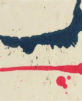 Red and blue ink on rice paper