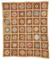 Star in Sunburst Circle quilt, found in Tuscaloosa, Alabama, stars and circles, brown backing