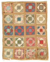 Unknown pattern, serrated squares, brown backing.