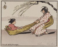 A Windy Ride, Helen Hyde, color woodcut