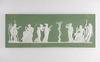 Rectangular green jasper plaque with white relief scene of Hercules in the Garden of the Hesperides