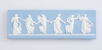 Rectangular blue jasper plaque with white relief scene of Dancing Hours originally modelled by John Flaxman in 1776