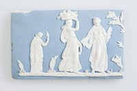 Rectangular blue jasper half-plaque with white relief scenes of classical ladies carrying fruit, picking flowers and dancing. 20th century copy?