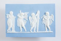 Rectangular blue jasper plaque with white relief scene of four putti dancing and playing music, possibly an adaption of Sacrifice to Hymen