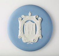 Round blue jasper plaque with white relief for the Royal Society of Arts, founded in 1754