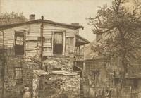 This image is created with black ink on paper. It represents a two story house with a porch to the left, built with brick on the bottom story and board on the top. The windows are in various states of disorder and on the top story some of the wood siding has fallen away, revealing the lathe and plaster of the interior walls. There are two windows in the top story and two windows in the bottom story. In front of the bottom right window there is a small outbuilding, also made of brick. There is a figure to the left of the outbuilding and another seated to the right next to a chair. Behind her stands a tree, and a second house stands behind the tree, more obscured than the first. A tree also rises from behind the upper left of the house at the left of the image.