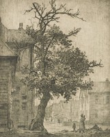 This image is created with black ink on paper. It represents a woman carrying a child in a street with another child by her side. Other figures can be seen on the street in the background. She is near a tree, which stands between her and the houses represented as closest to the viewer. There are two buildings represented on the left side of the street, and a series of buildings receding down the street on the right side of the street. The houses are cut off by the left and right edges of the paper, and the tree extends beyond the upper margin of the image.