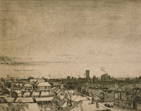 This etching is created with black ink on paper. The scene looks out over rooftops from a high vantage point toward a cityscape (downtown Birmingham, Alabama). Smoke rises intermittently in the distance, and the sky has some color and a few lines but is fairly clear.