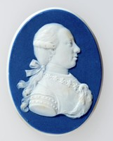 Oval dark blue jasper medallion with white relief profile portrait of Leopold II (1747-1792) facing right. Showing him as the Holy Roman Emperor.