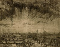 This etching is created with black ink on paper. The scene looks out over rooftops from a high vantage point toward a cityscape (downtown Birmingham, Alabama). The sky is dark in color and streaked with lines indicating heavy cloud cover.