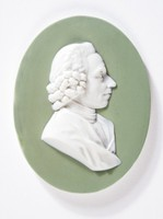 Oval green jasper medallion with white relief profile portrait of Priestly