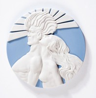 """Round blue jasper medallion with white relief scene of man and women, """"Sun and Wind"""""""
