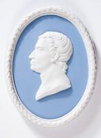 Oval blue jasper medallion with white relief profile portrait of Carl Wilhelm Scheele, with white relief laurel leaf self-frame