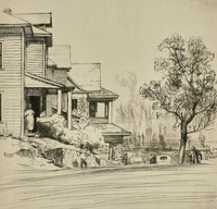 This etching is created with black ink on paper. It pictures a residential street on a hill overlooking an iron furnace. The street extends into the foreground. On the left side of the street are receding houses, some with one or two story porches. A figure enters the front door of the first house, and two additional figures walk in the street. A tree rises at the right side of the street, and next to it the upper half of a car is seen.