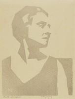 Ruth Draper, M. R. Hubbert Smith, linocut