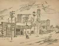 This image is created with black ink on white paper. The image looks down a street toward a church with two spires in the distance. The buildings (one of which is decorated with a harlequin pattern) and power poles on the left side of the street can be seen, and streetcar tracks run down the center of the street. Above the buildings on the left side of the street, a city skyline can be seen in the distance.