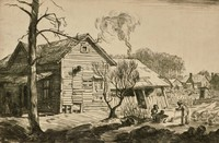 This image is created with black ink on white paper. It shows a board house with a boarded up chimney and a partially boarded up window, as well as a lurching dogleg off of the back. In the side yard of the house—which is the lower portion of the image—there are two barren trees and a group of three figures playing with a possum. Behind the group of figures is a fenced garden, and behind the fenced garden is a distant row of homes. There are trees behind the homes.