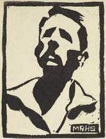 Man with Mustache, M. R. Hubbert Smith, linocut