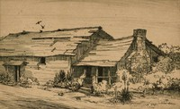 This image is created with black ink on yellowed paper. It shows a long, low building that stretches across the print, overtaken by foliage at the right. The building is divided into two portions. A doorway and window are openings into one portion, and the second portion is accessed by a porch. The building's roof has sustained damage, and off of the right portion of the building is a stone chimney. Above the building three birds fly.