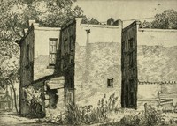 This image is created with black ink on white paper. It represents three partially stuccoed brick buildings. The buildings have sustained some damage, with the building at the front left having a hole in one of its brick corners and the building at the front right being partially boarded up at the side. In front of the buildings is some foliage and a tree stands above the upper left of the buildings. A house located behind the buildings can be seen in the lower right.