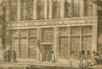 """This image is created with black ink on yellowed paper. It represents the façade of """"The Bank for Savings & Trusts."""" In the lower portion of the image a sidewalk is seen, and people have been drawn onto the sidewalk in graphite."""