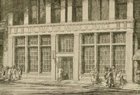 """This image is created with black ink on yellowed paper. It represents the façade of """"The Bank for Savings & Trusts."""" In the lower portion of the image a sidewalk is seen, and the sidewalk is heavily trafficked, with two groups of people at the left and right of the image and a single figure entering the bank at the center."""