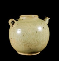 Ewer with carved vegetal scrolling below squared-spiral band and cloud whorls, with spiral decorated spout and ribbed handle