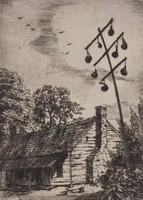 Cabin with Gourds, Mary Wallace Kirk, etching