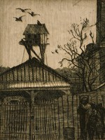 This image is created with black ink on yellowed paper. It represents a group of three figures in the lower right of the image, standing in front of a fence. Behind the fence a leafless tree rises at the right and the roof of a building topped by a birdhouse on stilts rises at the left. Three birds fly above the birdhouse and two are seated on it.