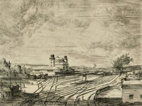 This image is created with black ink on cream paper. Train tracks stretch from the foreground to the background of the composition, with a few small buildings in the foreground at the left and right of the image. Only a few trains can be seen in front of the train station building, which is pictured at the center left of the image with two towers and a great dome. The sky is filled with light, scattered clouds.