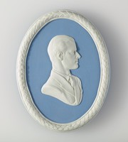 Oval blue jasper medallion with white relief profile portrait of H.R.H. Duke of Edinburgh, with white relief laurel leaf border