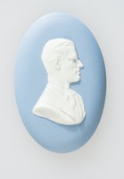Oval blue jasper medallion with white relief profile of the Duke of Edinburgh