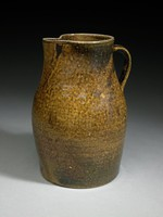 Pitcher with strap-handle, brown glaze with iridescence (Albany?)