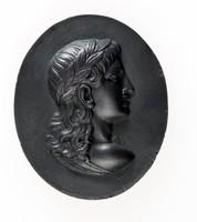 Oval black basalt medallion with profile portrait of Virgil facing right
