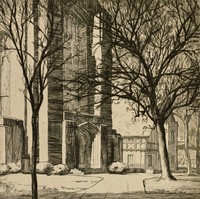 This image is created with black ink on paper. It represents the partial façade of a building, which is cut off by the left and top edges of the sheet. A sidewalk moves into the scene from the foreground to the middle ground, with trees lining it on either side.