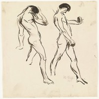 Study of figures in movement. Two figures walk forward making different gestures with their arms.