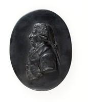 Oval black basalt medallion with left facing relief profile portrait of James Stuart (1713-1788)