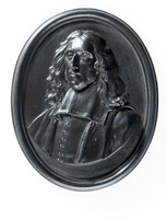Oval black basalt medallion with relief portrait of Johan de Witt (1625-1672) facing left, Born at Dort, the son of Jacob de Witt who strongly opposed William III, Prince of Orange. Johan as head of the Republican party sought to abolish the office of stadtholder, and a secret article in the treaty between Cromwell and de Witt, which terminated the war between England and Holland. His brother Cornelis falsely accused of conspiracy against the life of the Stadtholder, William, was imprisoned. Jan visited him in prison, where both men were attacked and killed by the mob. This relief is modelled by John Flaxman Sr. in about 1782.