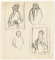 Four sketches of figures. The top left and bottom right figures stand in the same posture with head slightly tilted back. The top right and bottom left figures stand in the same posture, looking straight ahead with both arms at their side.