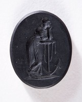 Oval black basalt intaglio, two-sided with Minerva on one side and Hope with anchor on the other