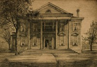 This image is created with black ink on paper. In it stands a large classical revival house with a portico and four columns. Five steps lead to the portico, and a double door—with one door open—offers entrance to the house. The house has five bays and a chimney on either side of the roof line. There is a leafy tree in front of the house and one on either side of the house. A path moves through the foreground to the middle ground and the steps to the front door.