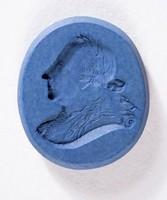 Oval dark blue jasper intaglio with profile portrait of man (King of Prussia, Frederick the Great?)