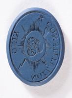 """Oval dark blue jasper intaglio """"King & Constitution"""" with crown"""