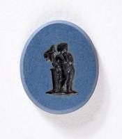 Oval dark blue Nicolo intaglio with black figure standing beside a column