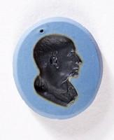 Oval blue jasper Nicolo intaglio with black profile portrait  of a man
